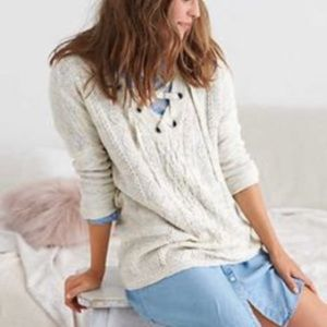 Aerie Cream Lace Up Sweater Size M
